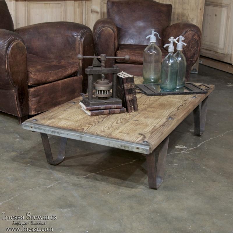 antique industrial brick pallet coffee table - inessa stewart's