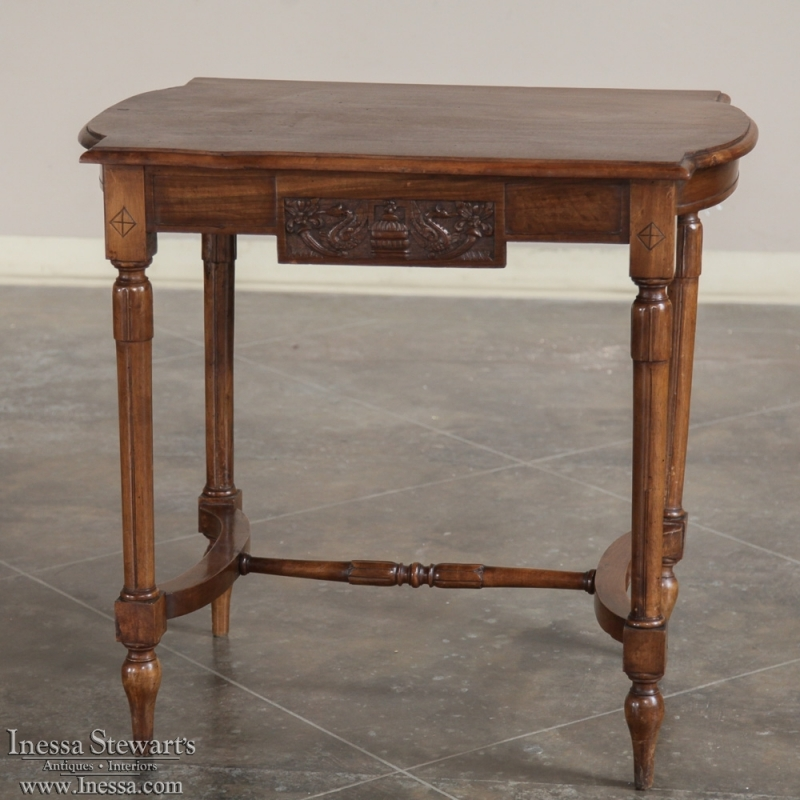 Antique Italian Neoclassical Walnut End Table