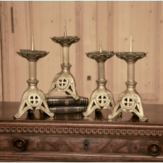 PAIR Gothic Bronze Candlesticks (2 pair available-sold per PAIR)
