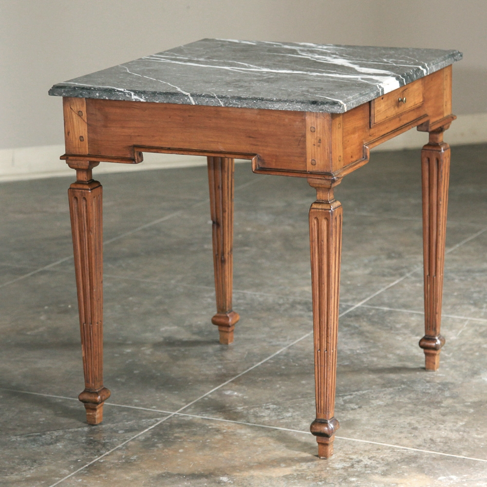 Vintage Louis XIV Marble Top End Table at 1stdibs  |Antique Marble Top End Tables