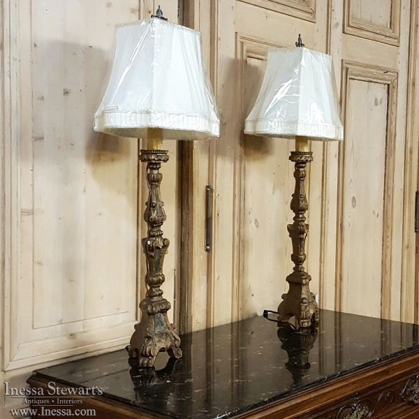 Pair Antique Italian Carved and Mirrored Candlestick Table Lamps