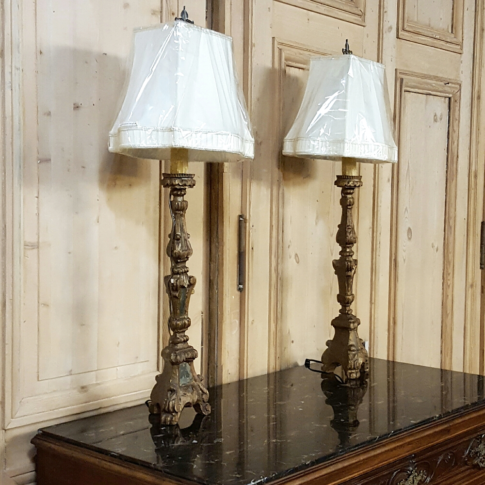 Superbe Pair Antique Italian Carved And Mirrored Candlestick Table Lamps