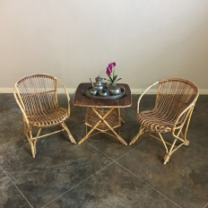 Pair of Mid-Century Rattan Armchairs
