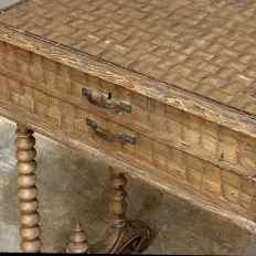 19th Century Sewing Table with Basketweave Carving & Spooled Legs