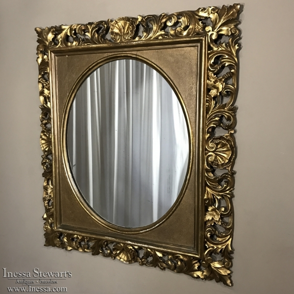 19th Century French Hand-Carved Giltwood Mirror ca. 1890