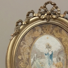 19th Century Petite Point Giltwood Framed Tapestry