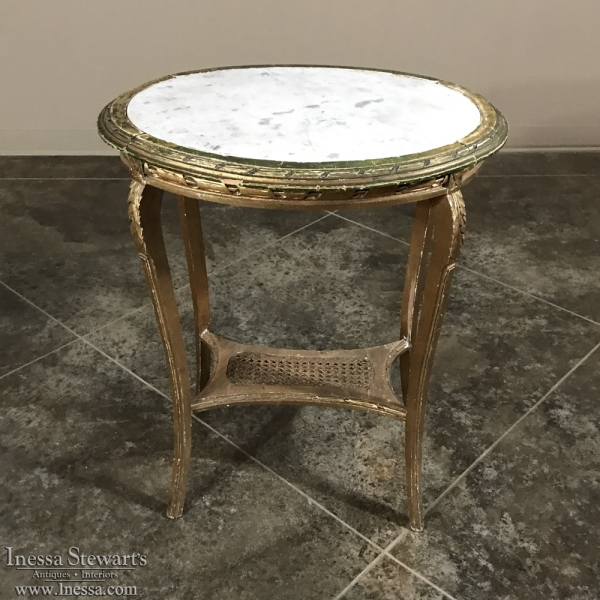 19th Century French Louis XVI Marble Top End Table