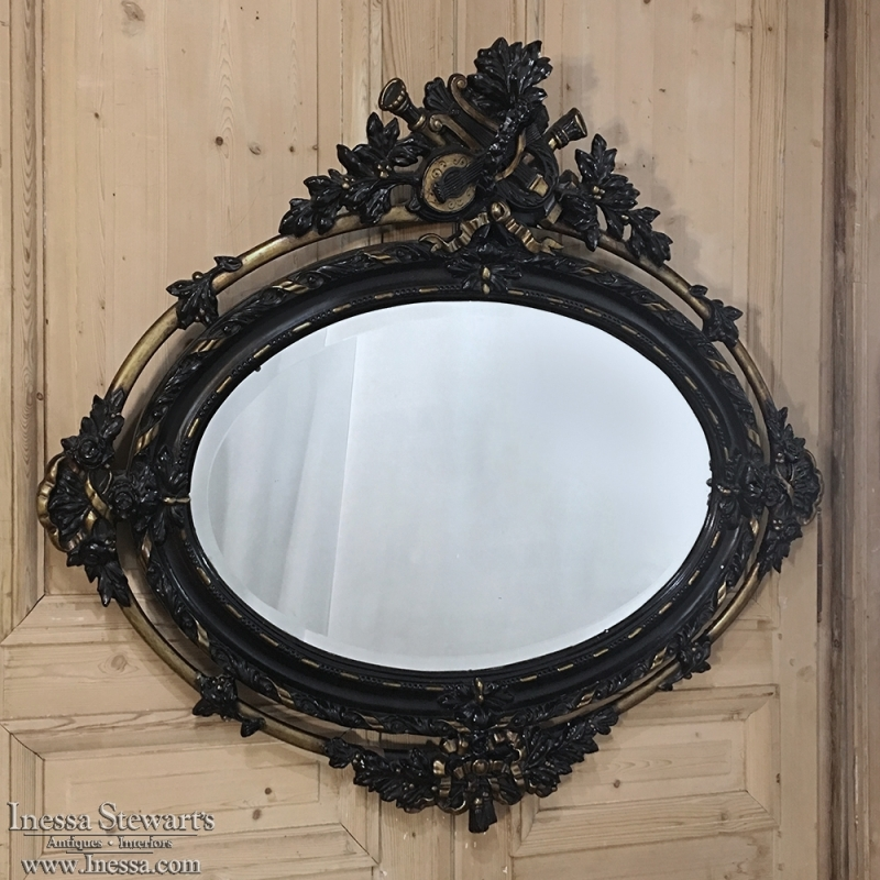 Antique Louis XVI Painted & Gilded Oval Mirror