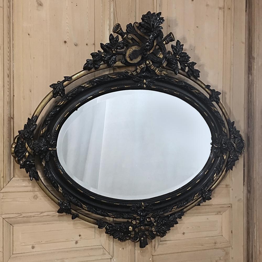 Antique French 19th Century Louis Xvi Oval Mirror Inessa