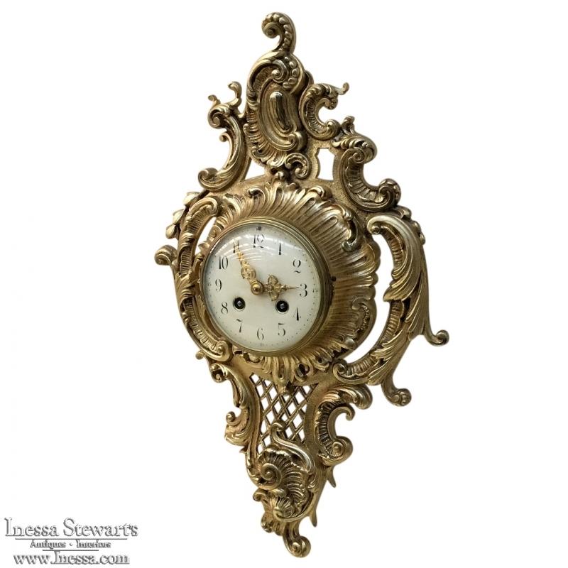 antique french xv bronze wall clock cartel clocks uk oak with pendulum