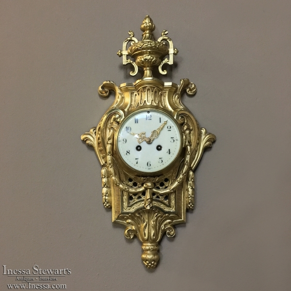 19th Century French Louis Xvi Bronze D Ore Wall Clock