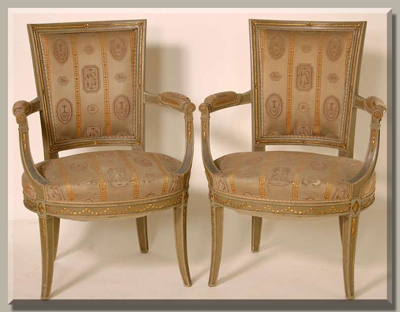 Pair of French Antique Directoire Period Armchairs