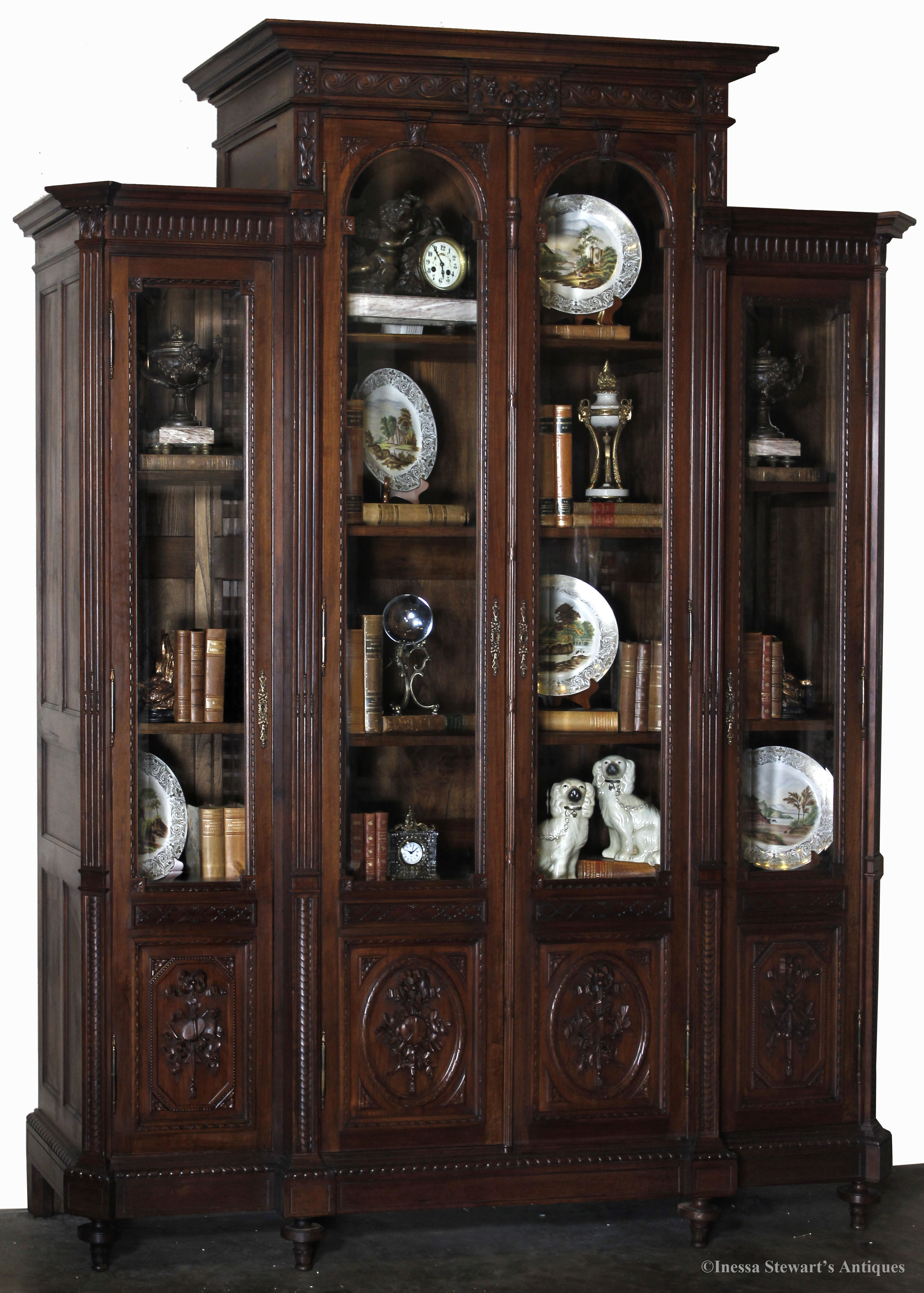 Antique Decorated Library Bookcase