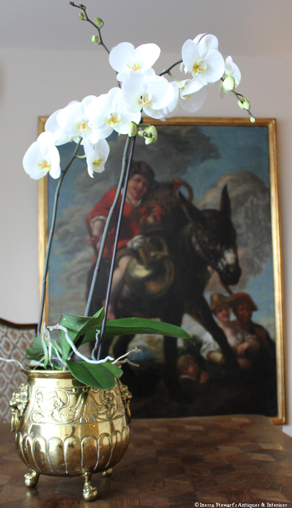 French Antique Painting and Antique Planter
