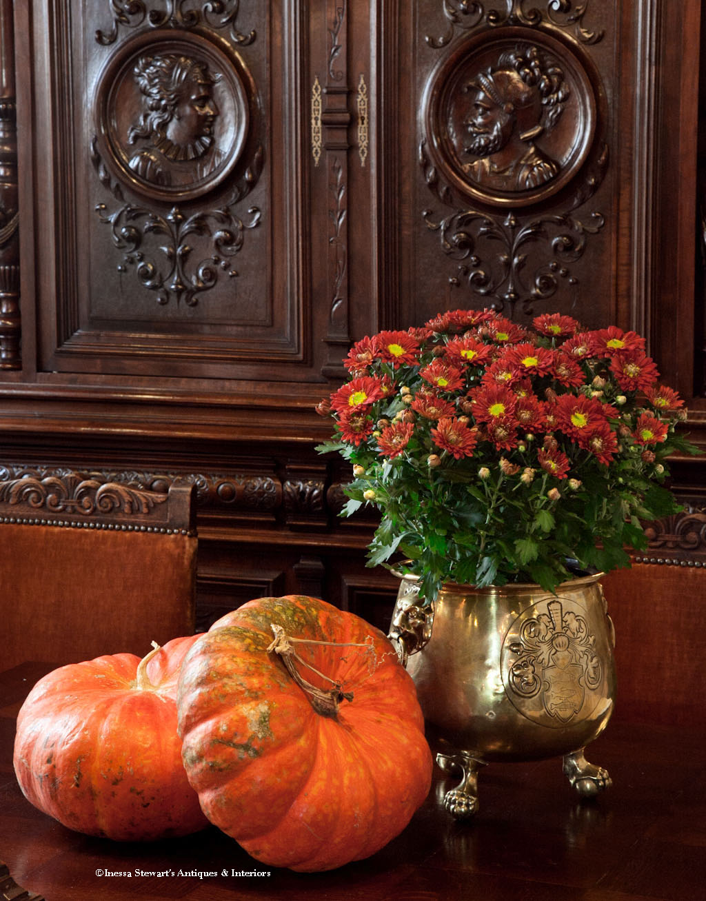 French Antique Planter, Pumpkins, and Flowers