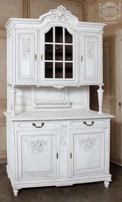 Antique Louis XVI Walnut Painted China Buffet Antique Furniture - Painted White Antique Delight! Antiques In Style