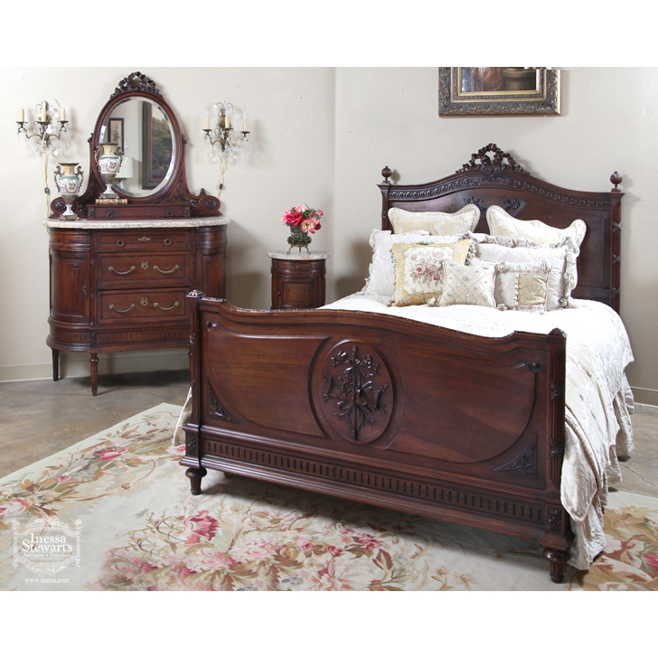 Exceptional Antique French Louis XVI Walnut Bedroom Set   Online Antique Store ...