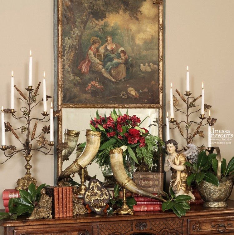 Antique Trumeau Christmas Display