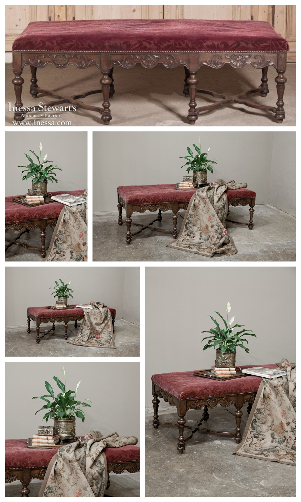 Antique French Furniture Upholstered Bench
